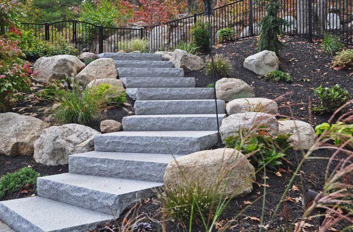 Best Granite Steps On A Sl*P* Landscape Steps Landscaping 640 x 480