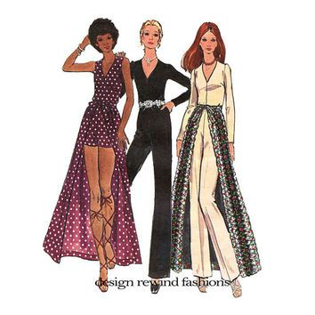 5d0bfe8699d 1970s JUMPSUIT   WRAP SKIRT Pattern Jumpsuit Romper Overskirt Straight Leg  Disco Jumpsuit Buterick 6418 Bust 32.5 Womens Sewing Patterns