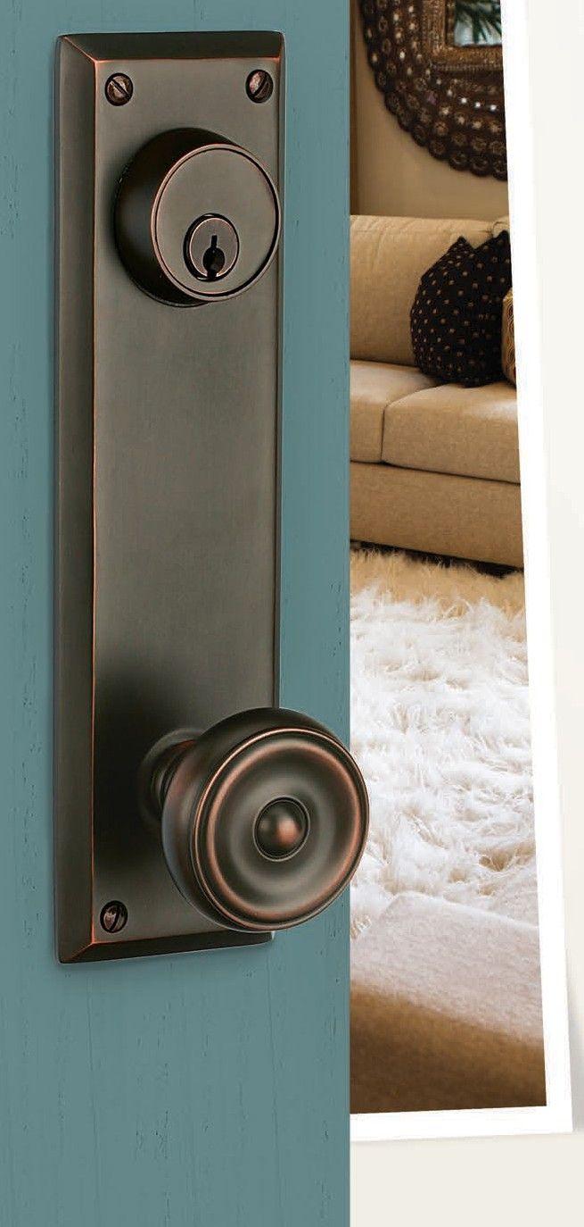 Door hardware for front doors. Emtek Quincy sideplate + Waverly knob ...