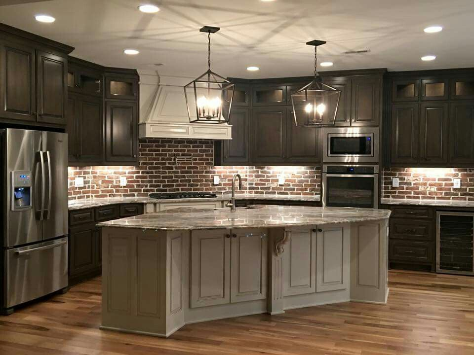 Love this kitchen! Think I would want white cabinets ...