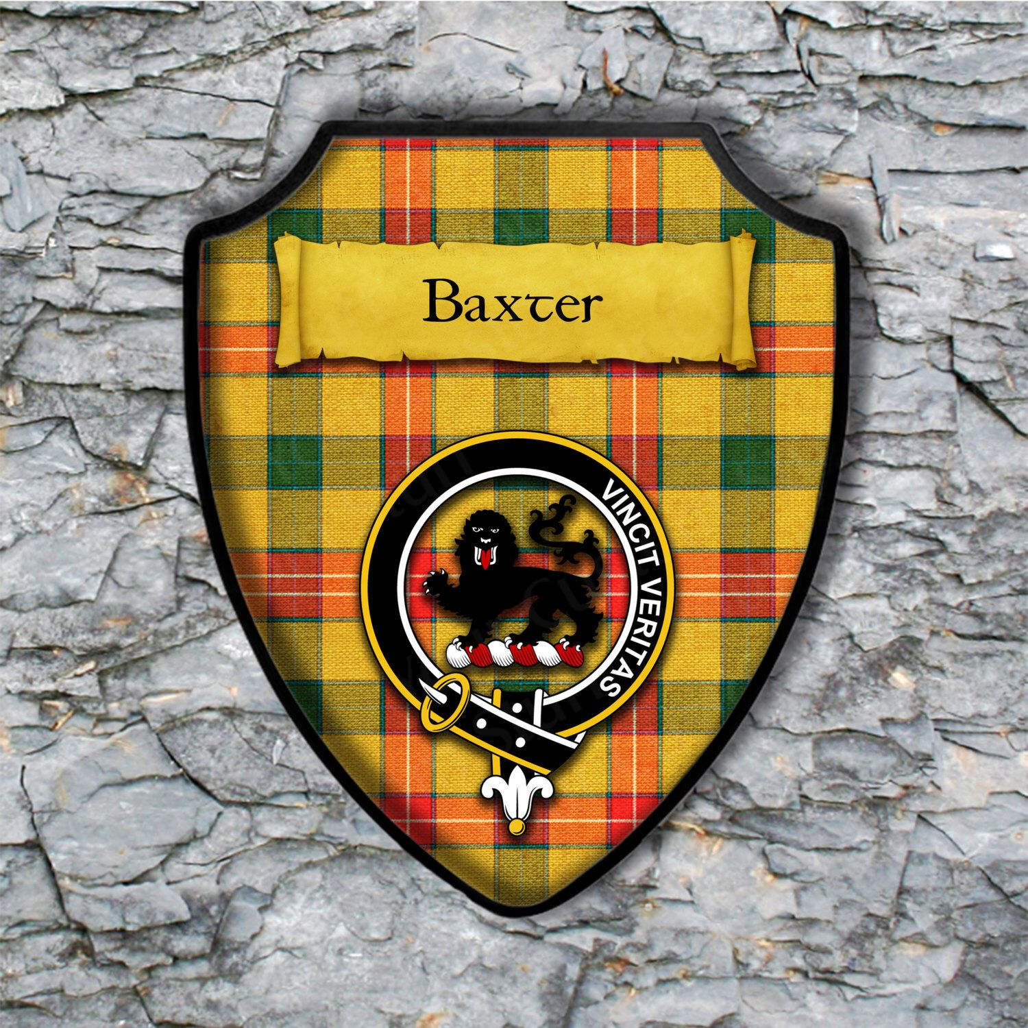 Baxter Shield Plaque with Scottish Clan Coat of Arms Badge on Clan ...