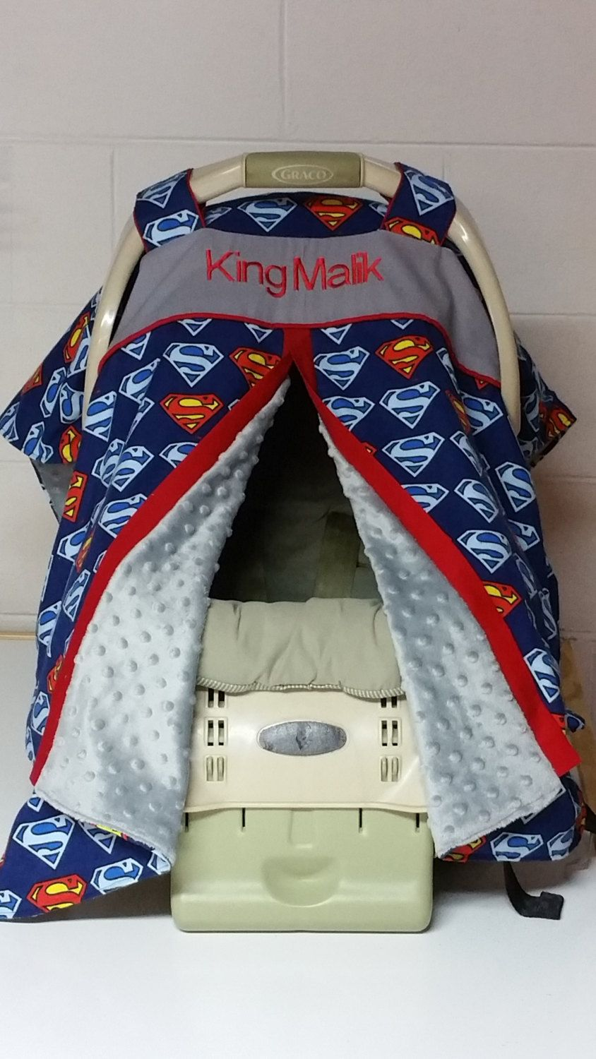 Superman Carseat Canopy Personalized Carseat Canopy