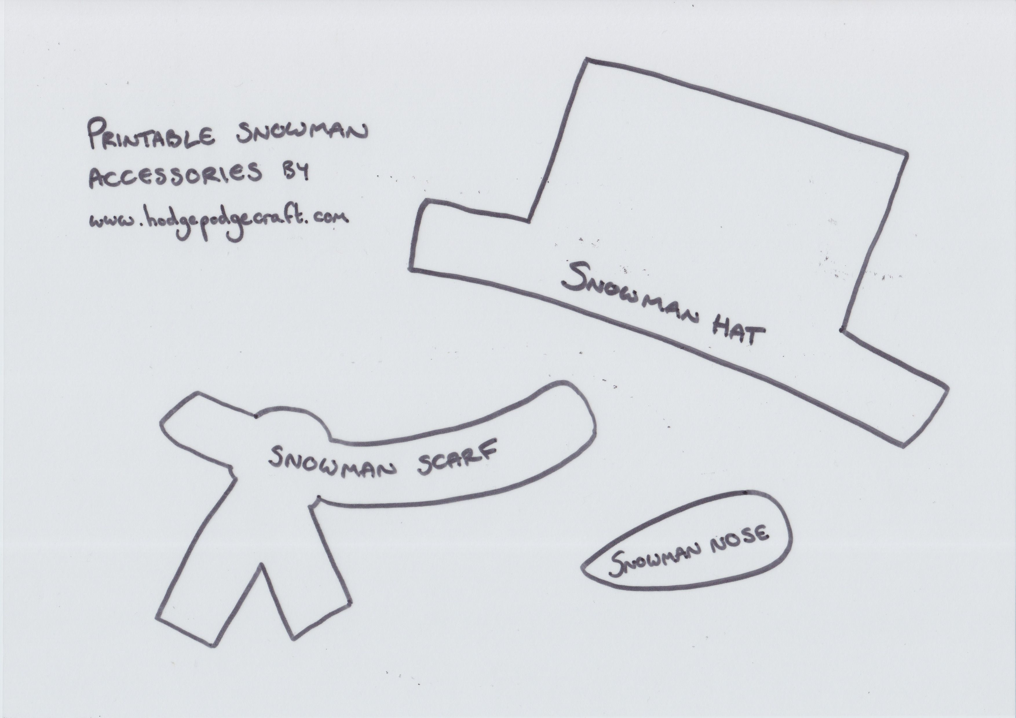 Free Printable Snowman Craft Accessories Template Jpeg 3508 2480