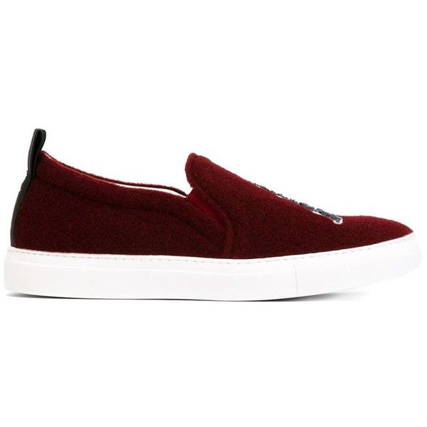 JOSHUA SANDERS 'Paris' slip-on sneakers ($385) ❤ liked on Polyvore featuring shoes, sneakers, bordeaux shoes, leather slip on sneakers, leather slip on shoes, joshua sanders shoes and leather wedge sneakers