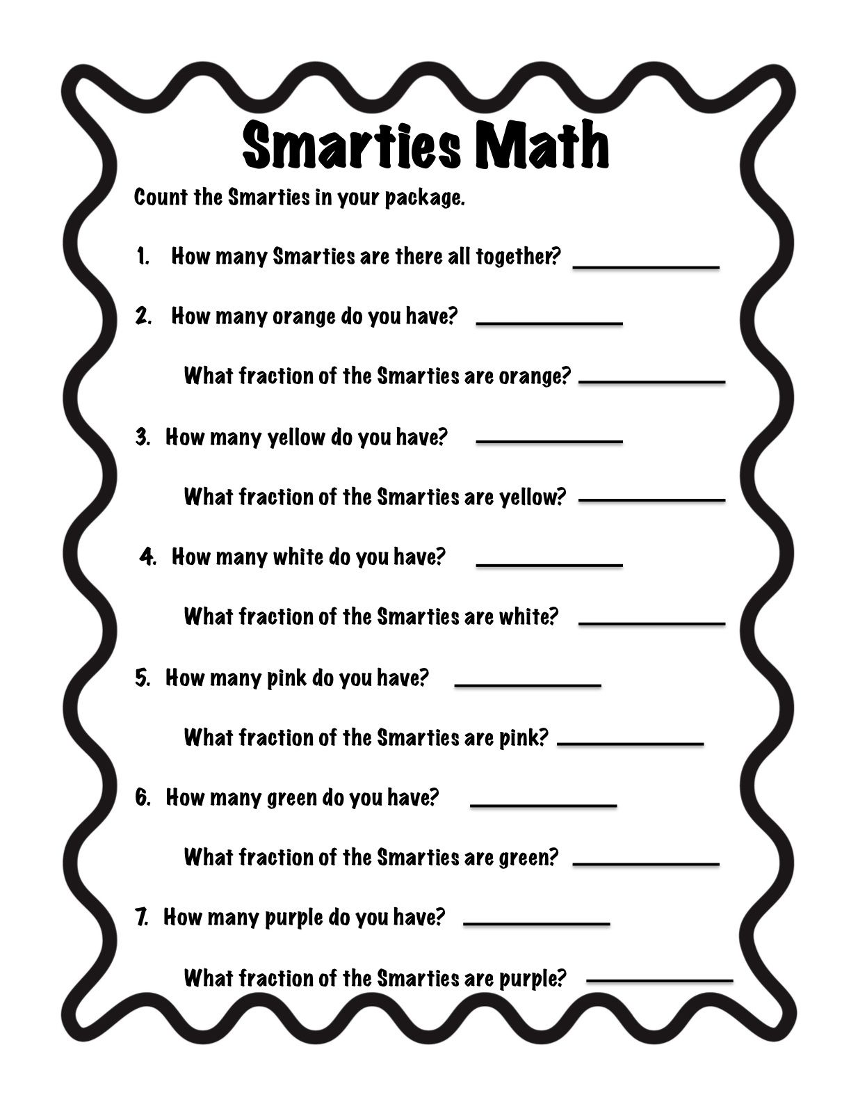 Common Core And So Much More Smarties Fractions Freebie Candy Math Activities Candy Math Math Fractions [ 1584 x 1224 Pixel ]