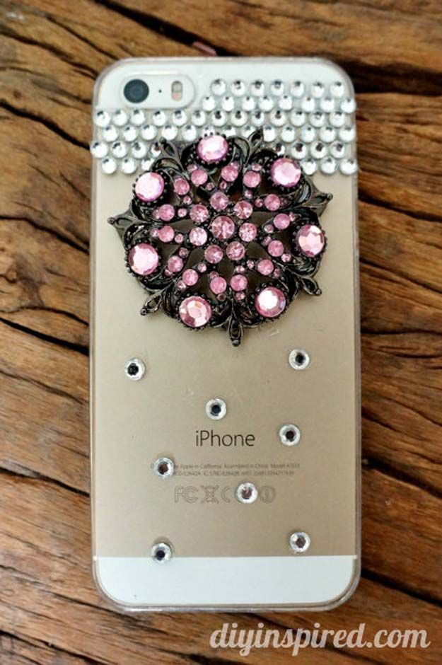 44c20518a0 DIY iPhone Case Makeovers - Repurposed Brooch - Easy DIY Projects and  Handmade Crafts Tutorial Ideas You Can Make To Decorate Your Phone With  Glitter, ...