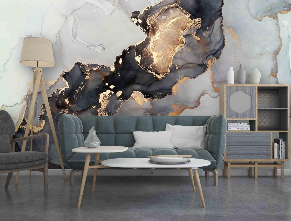 Black Gold Marble Removable Mural Marble Wall Art Etsy Marble Wall Mural Marble Wall Black And Gold Marble