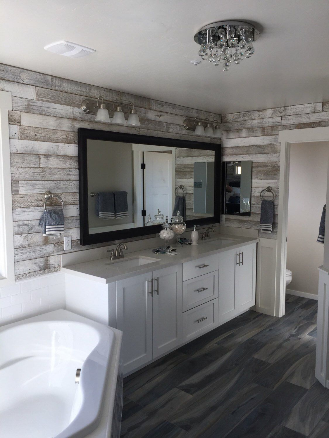Sample Reclaimed Wood Wall Paneling White Washed Etsy Bathroom