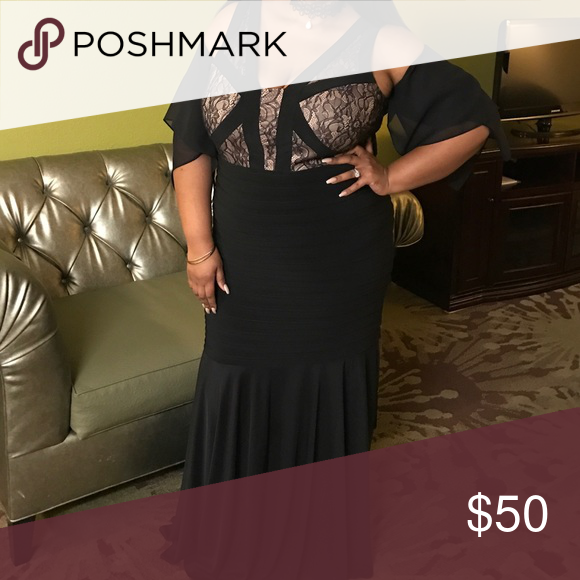Plus Size Evening Gown Black and Tan Evening Gown from lord and ...