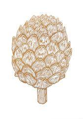Køb Linoleumstryk Artiskok fra Monika Petersen hos Stileben – Stilleben - køb design, keramik, smykker, tekstiler og grafik