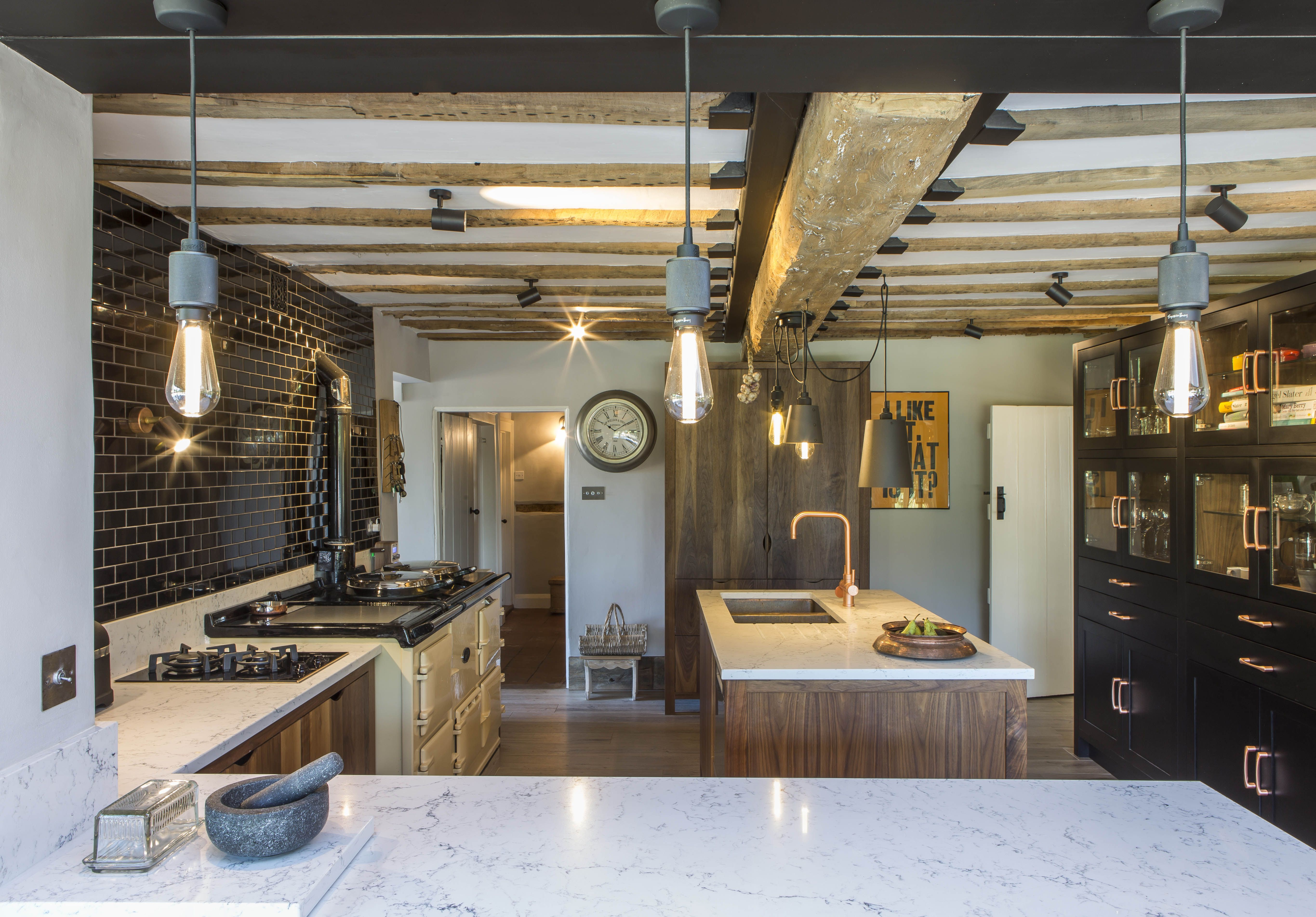 Country Living Modern Rustic Style Kitchen And Open Plan Dining Room Buster And Punch Lighting And Bespoke Wa Kitchen Styling Walnut Kitchen Kitchen Extension