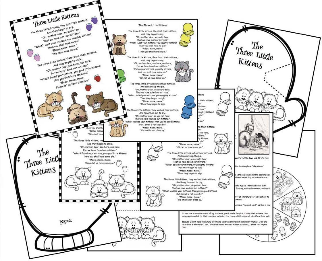 Activities For The Three Little Kittens Nursery Rhyme Nursery Rhymes Nursery Rhymes Activities Nursery Rhyme Crafts