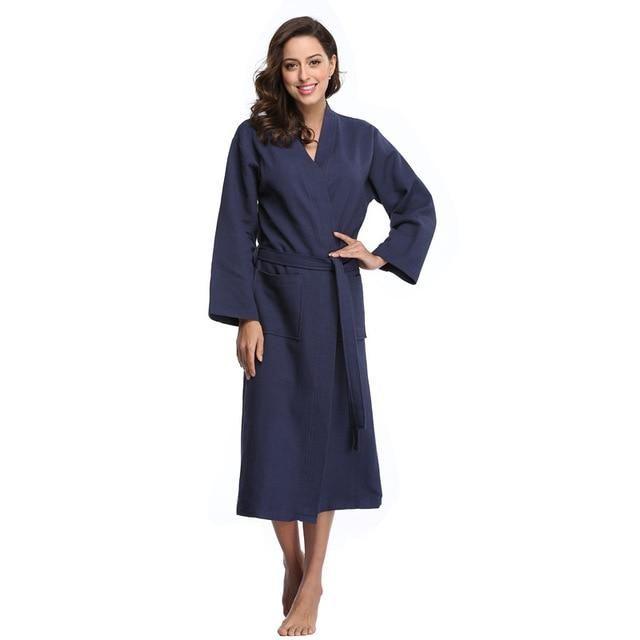 Winter Waffle Bathrobe Cotton Bridal Robes Long Kimono Bridesmaid Robes  Women Sexy Sleepwear Nightgown Dressing Gowns 79de0481a251