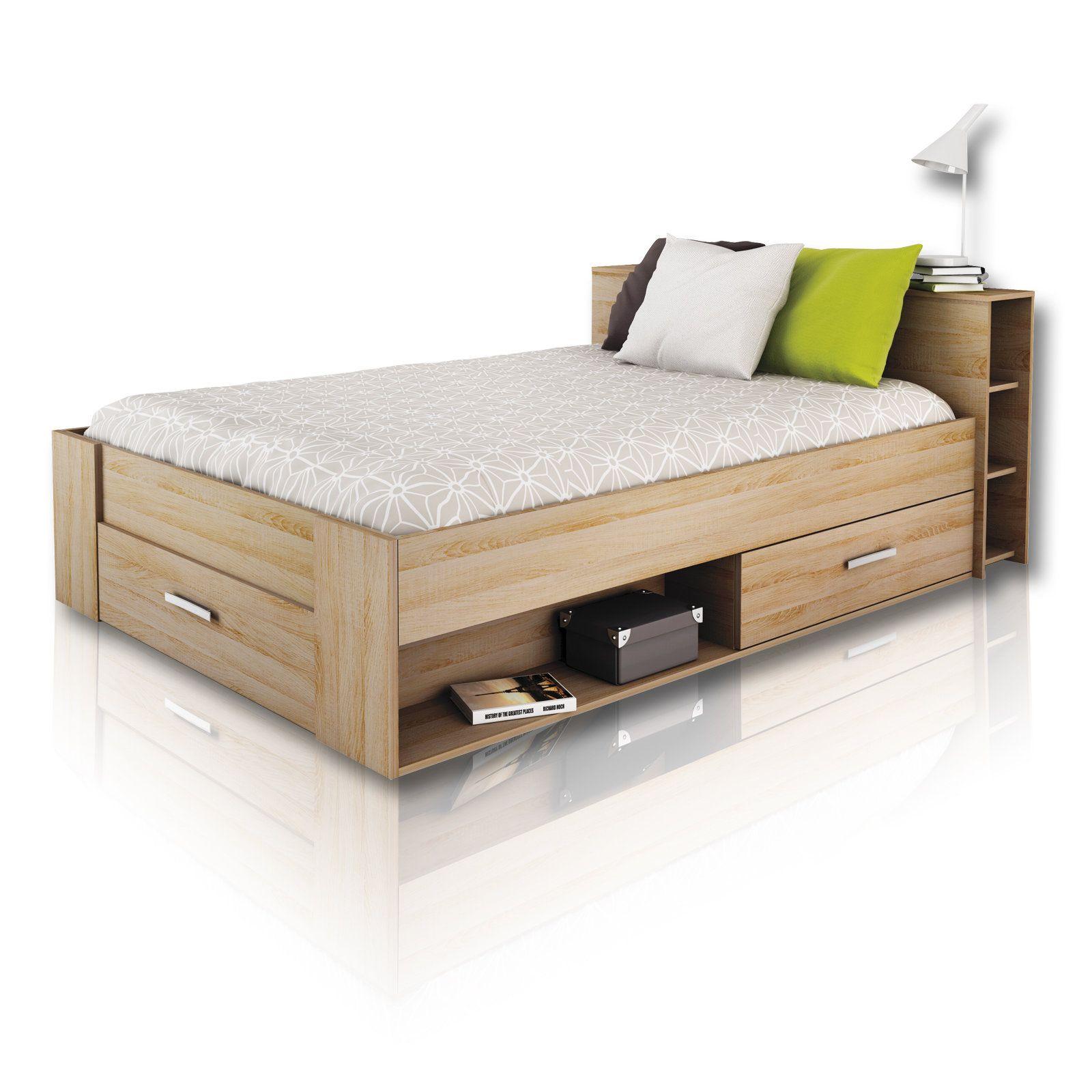 Funktionsbett Pocket Eiche Sonoma 140x200 Cm Bettgestelle Betten Mobel Doppelbett Mit Stauraum Bettgestell Bett Lagerung