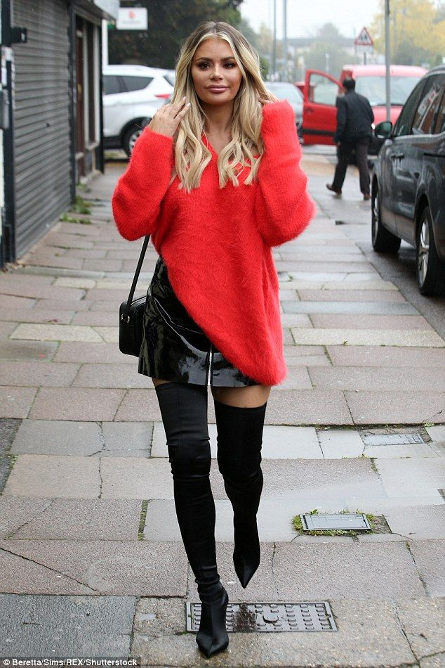 TOWIEs Chloe Sims flaunts her legs in PVC miniskirt