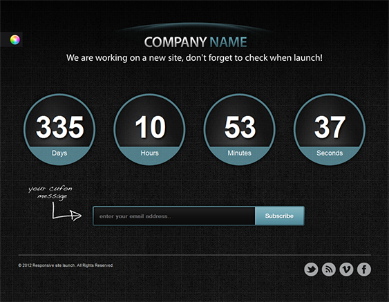 This responsive launching soon template features a working ...