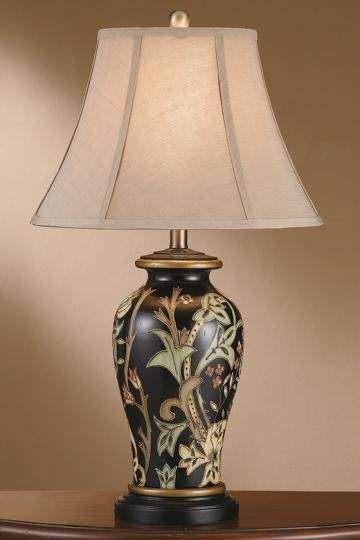 Floral Urn Table Lamp   Flower Lamp   Urn Lamp   Black Lamp   Traditional  Table
