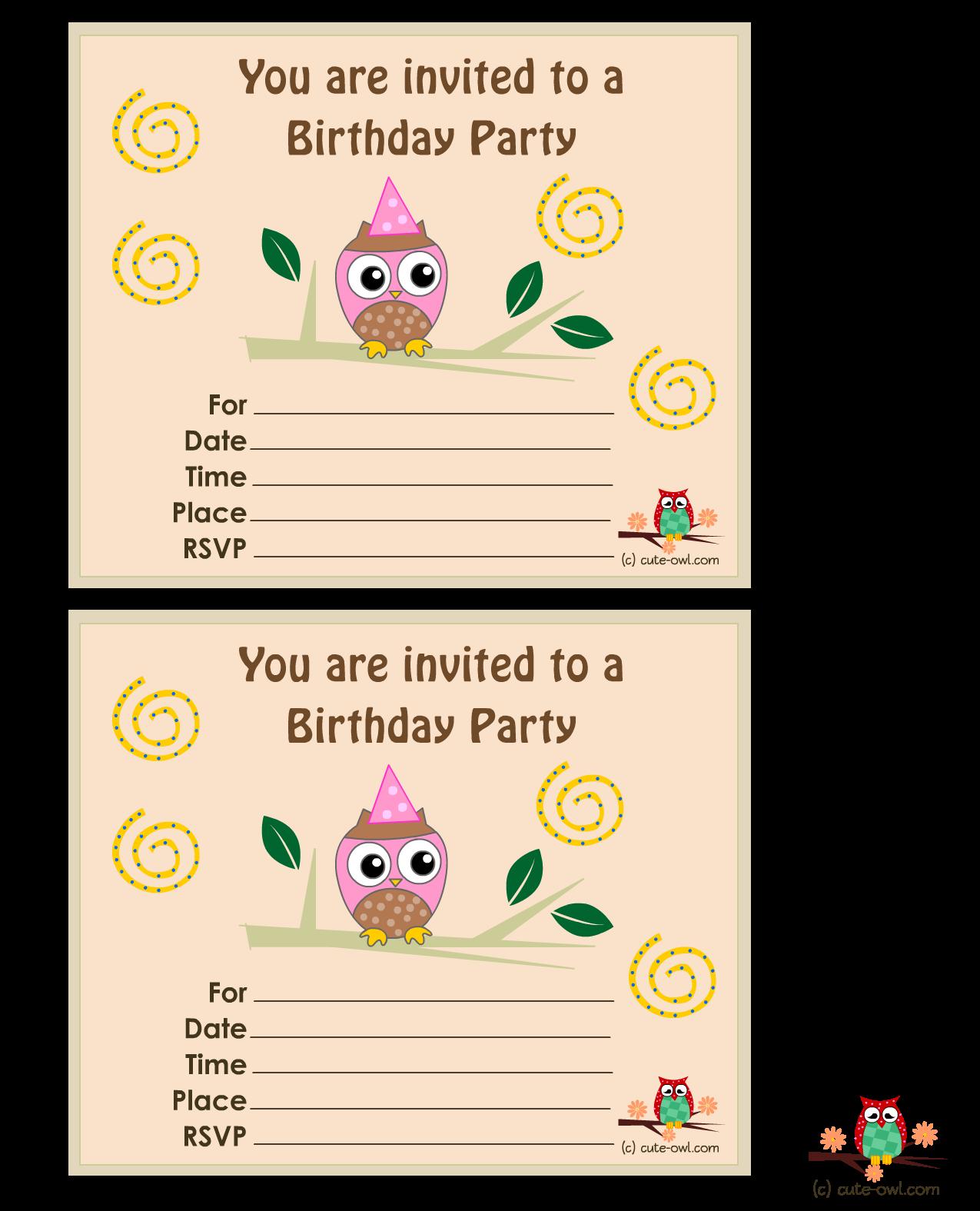 Birthday Party Invitations Printable Free Owl