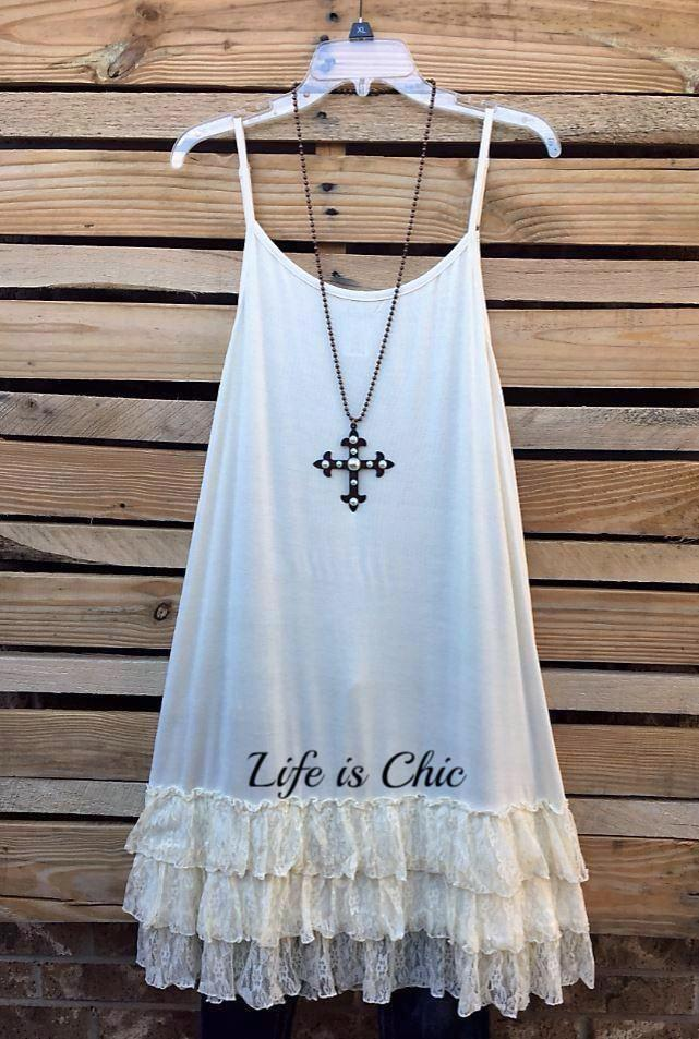 4d9436f725f1 LOVE OF MY LIFE LACE SLIP CAMISOLE DRESS IN CREAM [product vendor] - Life  is Chic Boutique