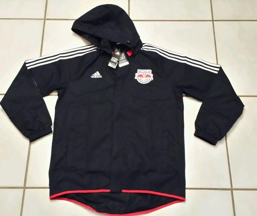 NWT ADIDAS New York Red Bulls MLS Hoodie  Rain Jacket Men's Large  #adidas #NewYorkRedBulls