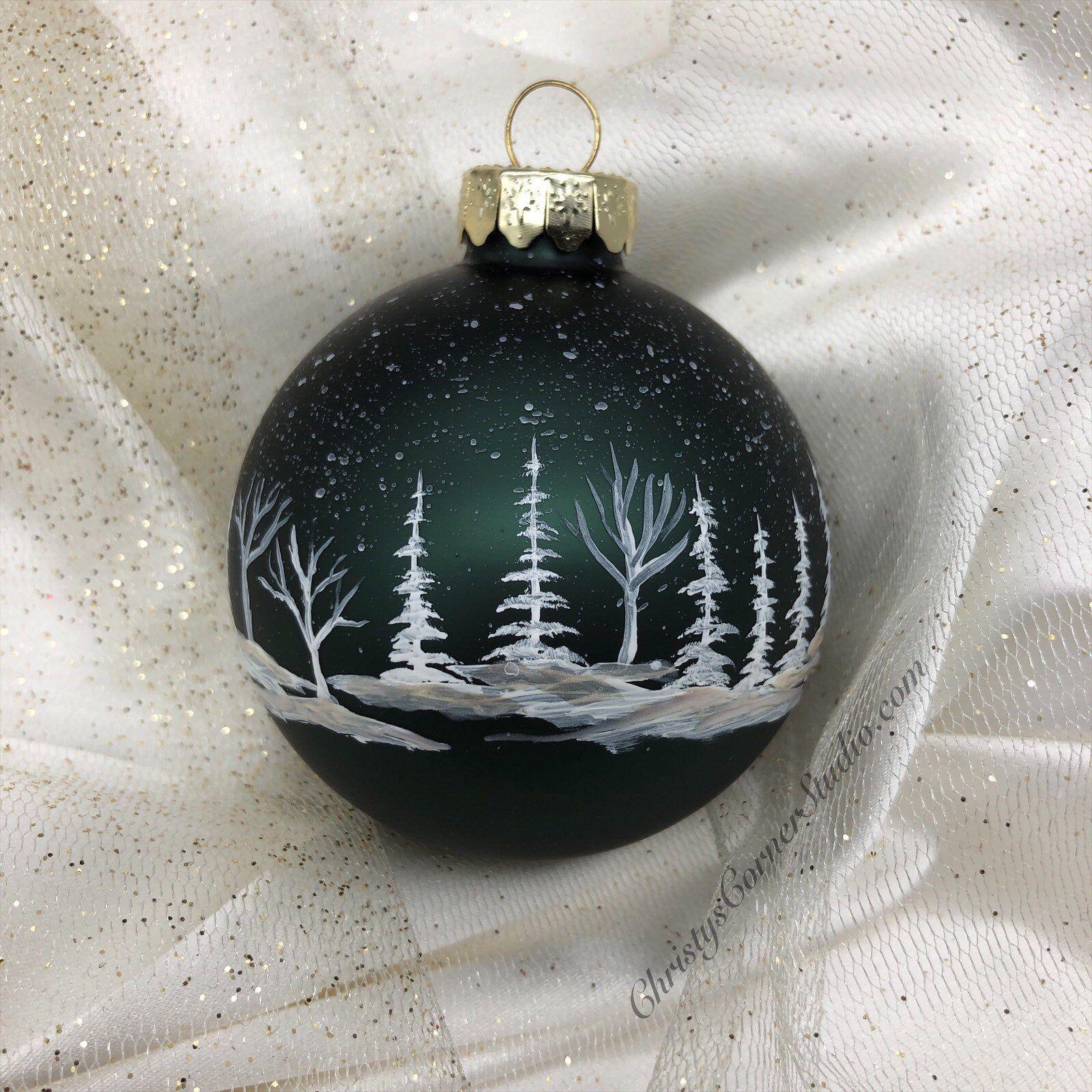 Handpainted Glass Christmas Ornament Black Dark Green Glass Etsy Christmas Ornaments Handpainted Christmas Ornaments Glass Christmas Ornaments