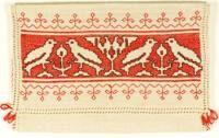 00102 Assisi Napkin Case  Italian, circa 1910  Assisi work on linen evenweave fabric; cross stitch with Holbein borders.  6 x 9 in (15.2 x 22.9 cm)