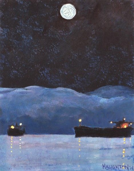 David Haughton, Moonlight on Fogbank and Two Ships, 2014.