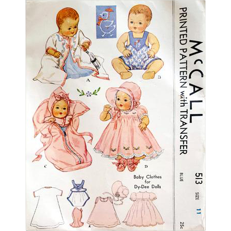 Mccall 513 Original 1930s Clothes For 11 Inch Dy Dee Dolls Sewing Pattern Baby Doll Clothes Patterns Baby Doll Clothes Doll Sewing Patterns