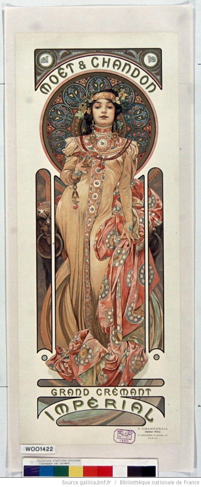 Title: Moët & Chandon Grand Cremant Imperial: [poster] / Mucha Author : Mucha, Alphonse (1860-1939). Illustrator Publisher: [Sn] Publisher: Imp. F. Champenois (Paris) Publishing date : 1899 Subject : Alcoholic beverages (646×1566)