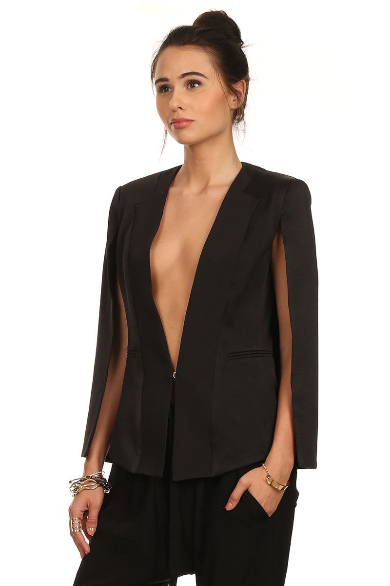 Reese - Low Cut Woven Caped Blazer
