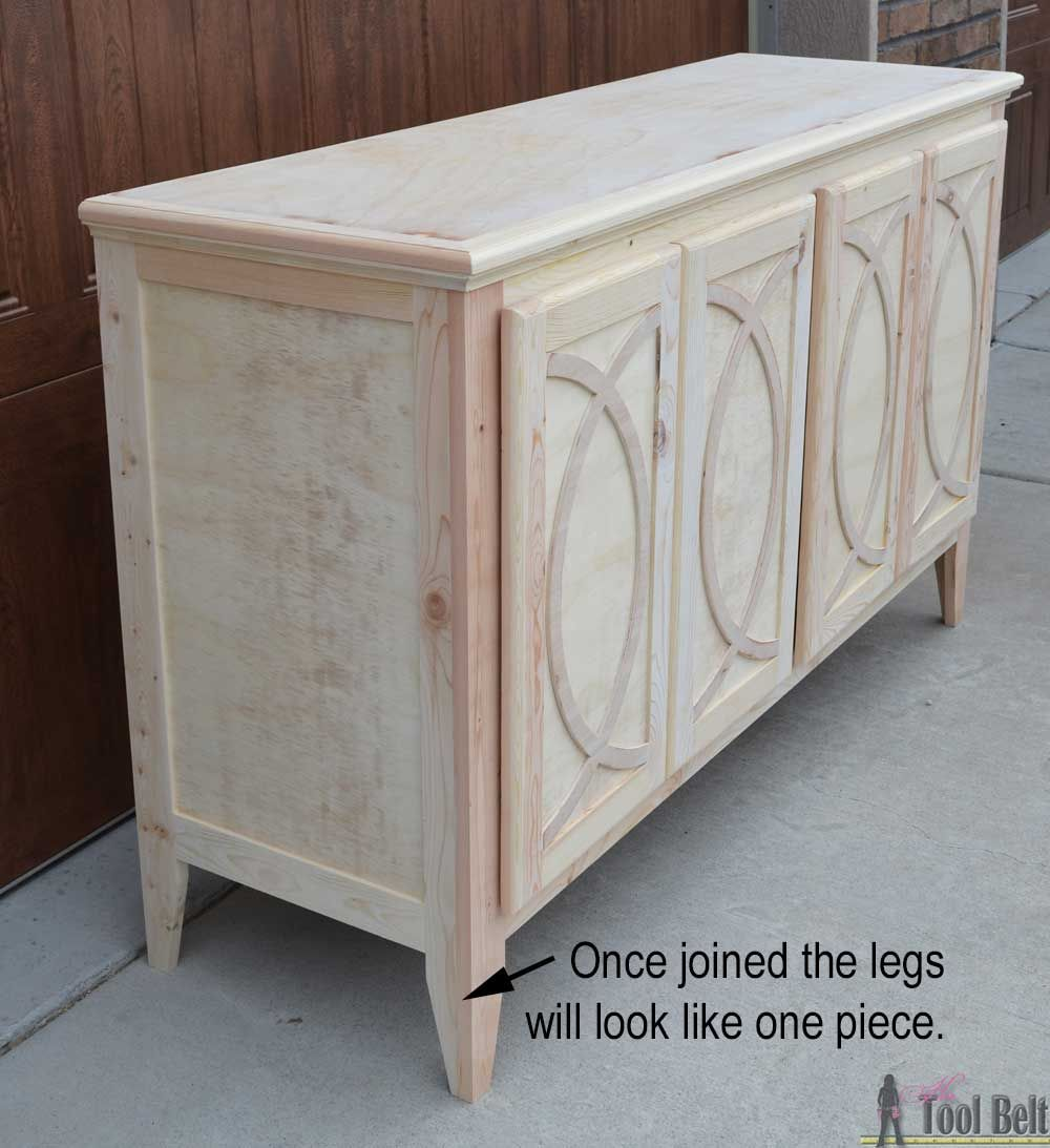 diy buffet sideboard with circle trim doors buffet. Black Bedroom Furniture Sets. Home Design Ideas