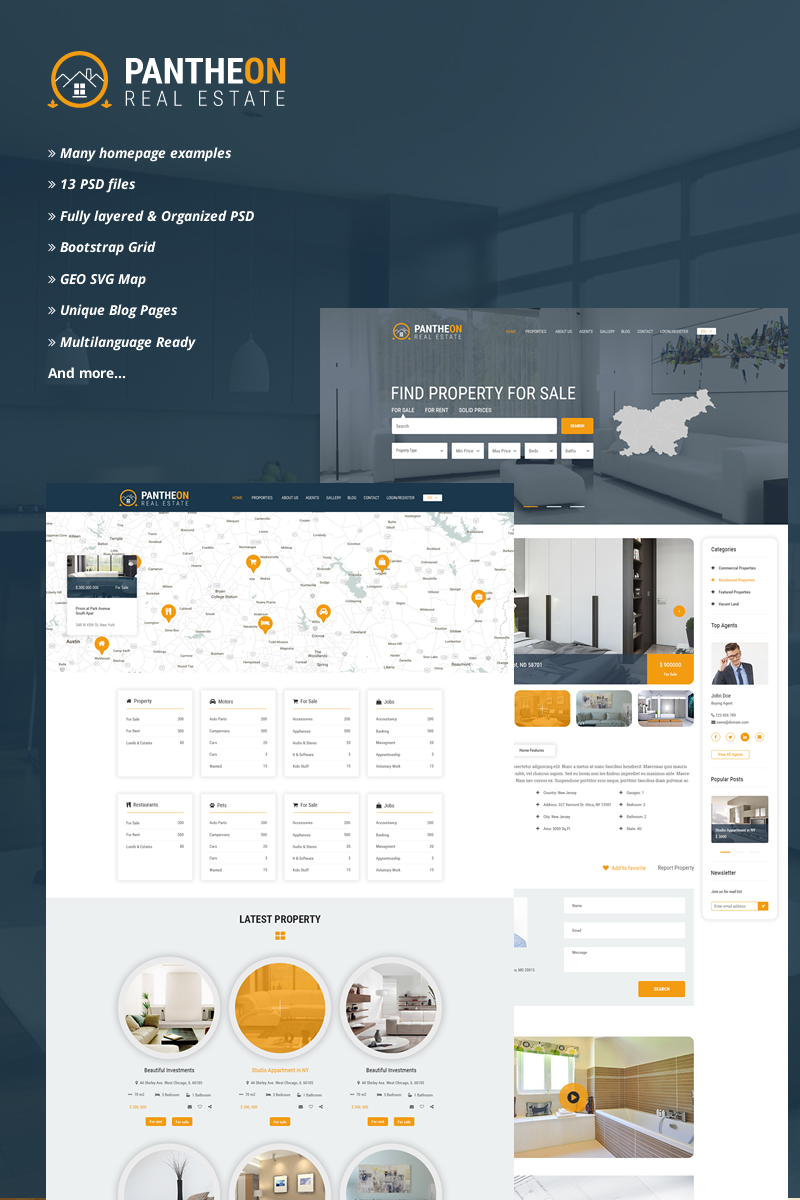 pantheon real estate directory psd template typography design