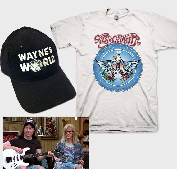 5887766d Wayne's World Garth Aerosmith T-shirt with Waynes Hat complete Halloween  Costume Set Black Cap with White T Shirt Youth Adult sizes S-3XL