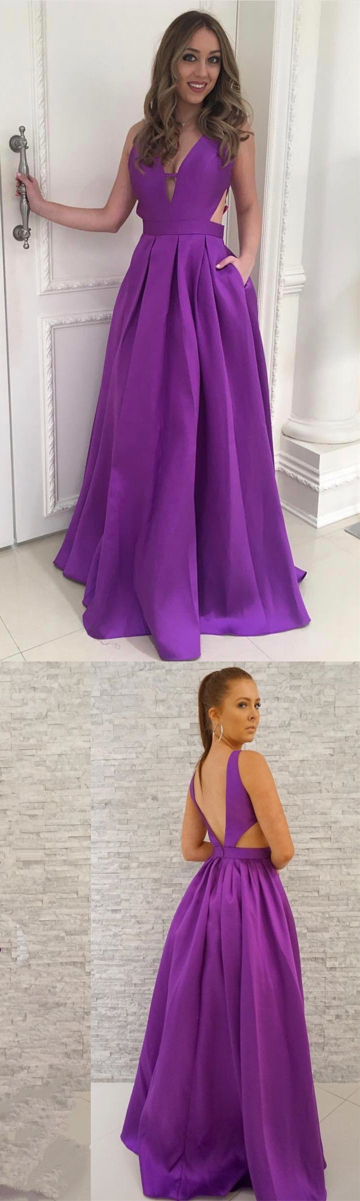 Long prom dress with pockets purple long prom dress prom dresses