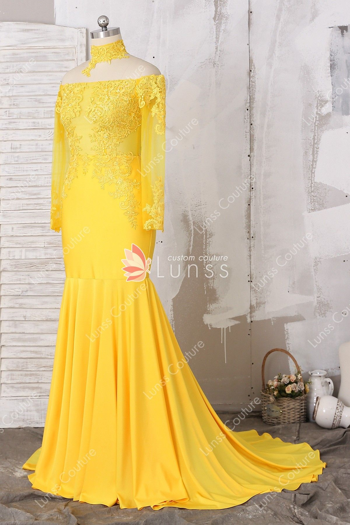 568e3dc99ad Bright Yellow Sheer Long Sleeve Off-the-shoulder Lace Jersey Mermaid Long Prom  Dress