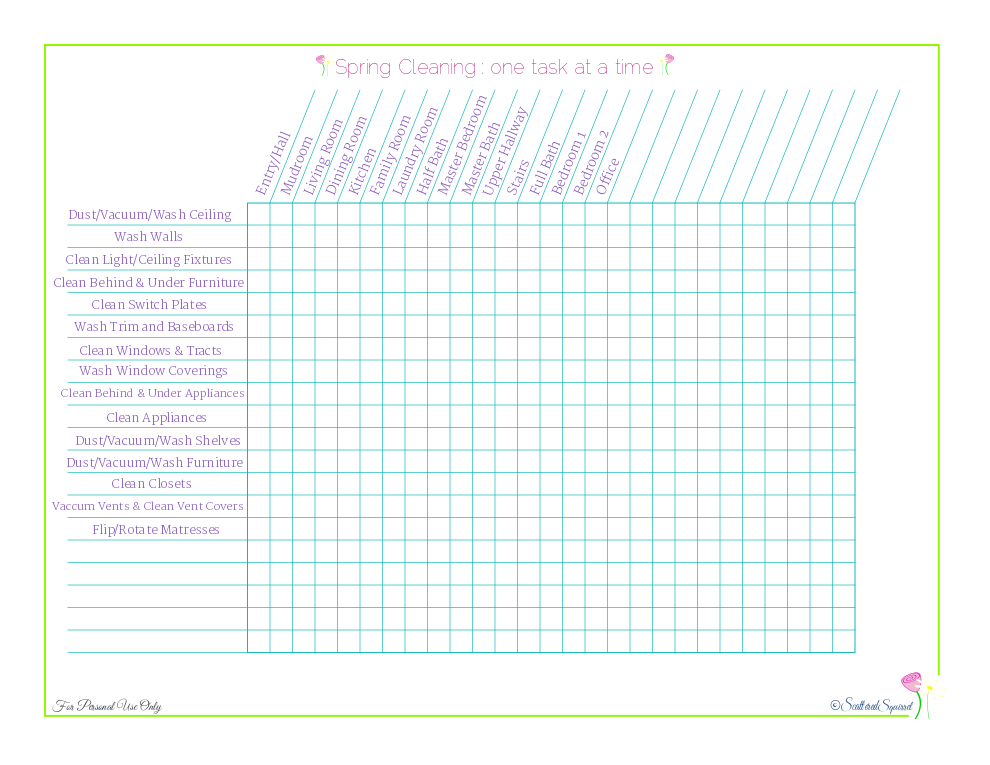 free printable spring cleaning check list designed for those wanting to do one job at a time, from ScatteredSquirrel