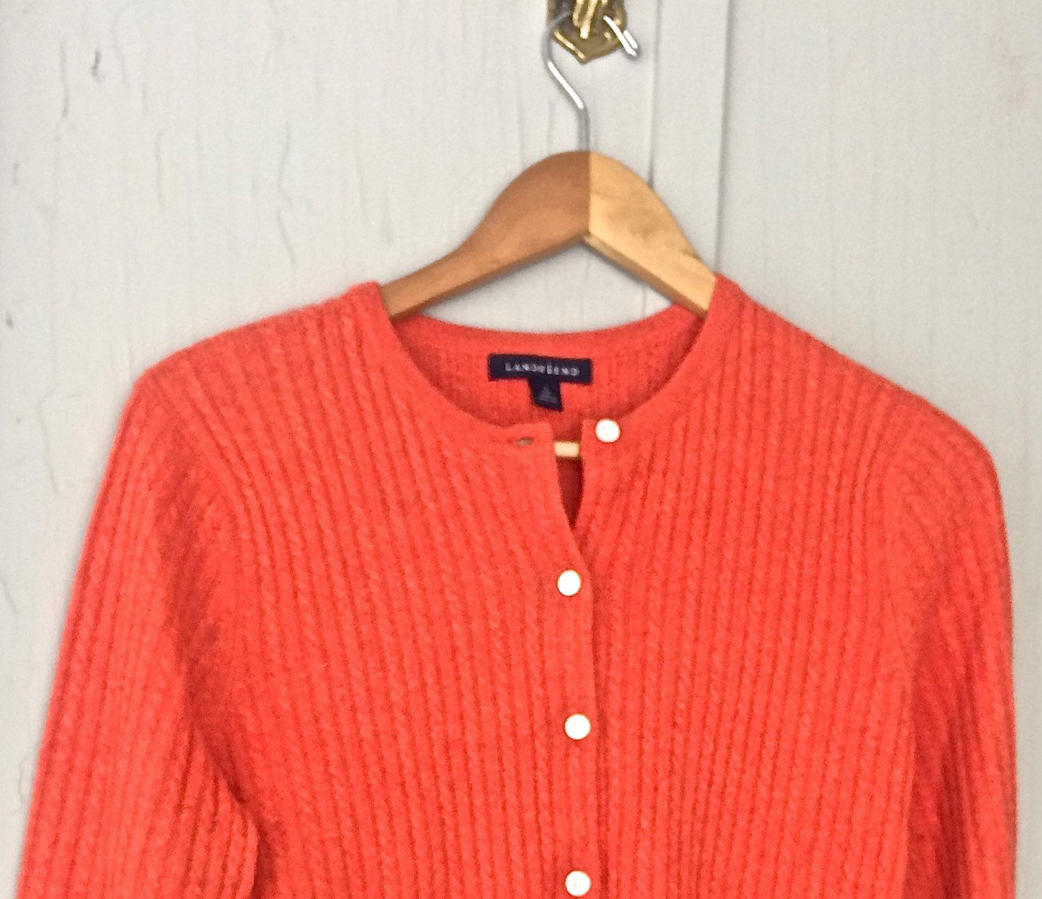 Warm and toasty orange cashmere crew neck cardigan, size 6-8 ...