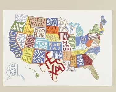 pottery barn united states map map of us from pottery barn   Class art projects, Map, Map art