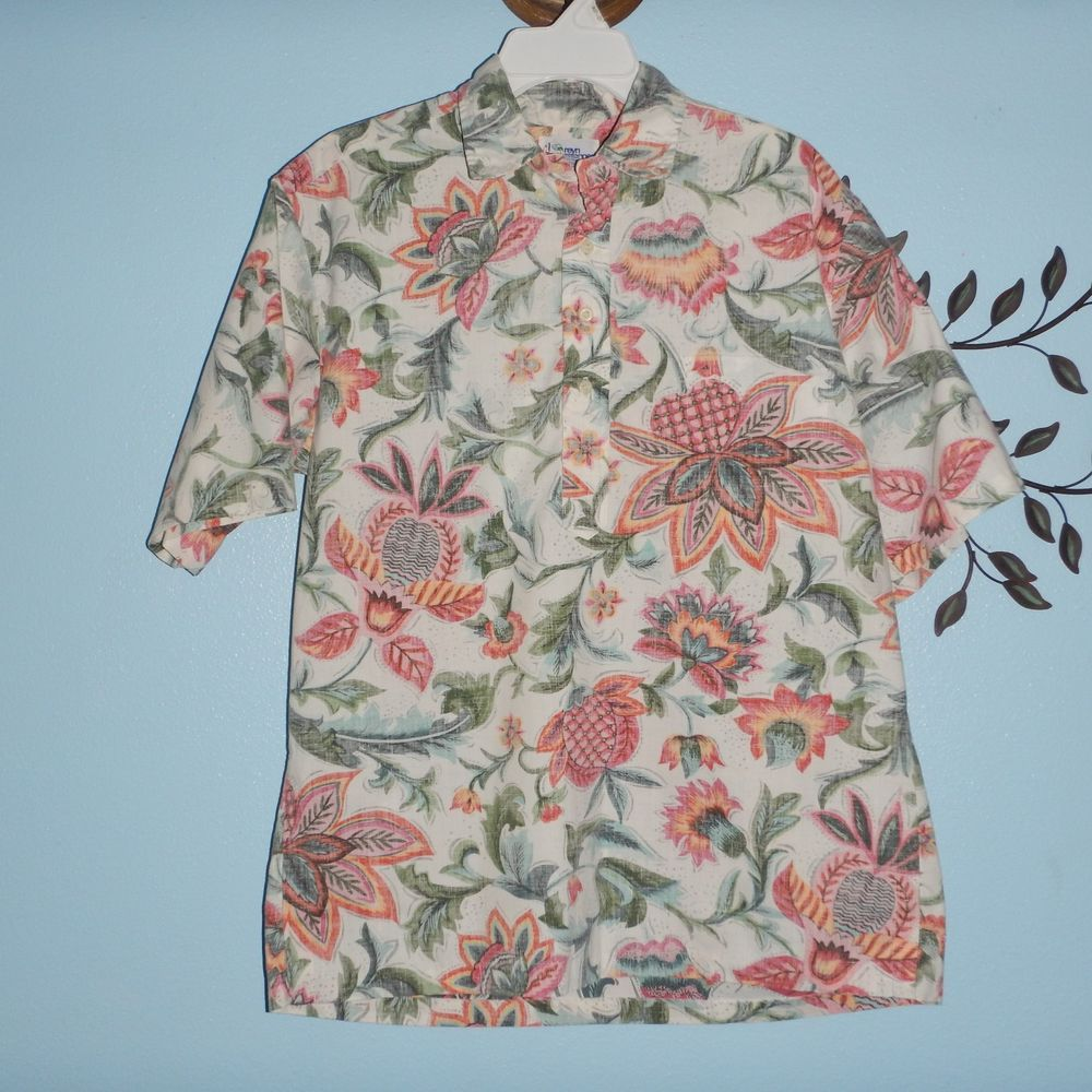 REYN SPOONER Hawaiian Shirt Short Sleeve Reverse Print Floral Pullover Size L  #ReynSpooner #Hawaiian