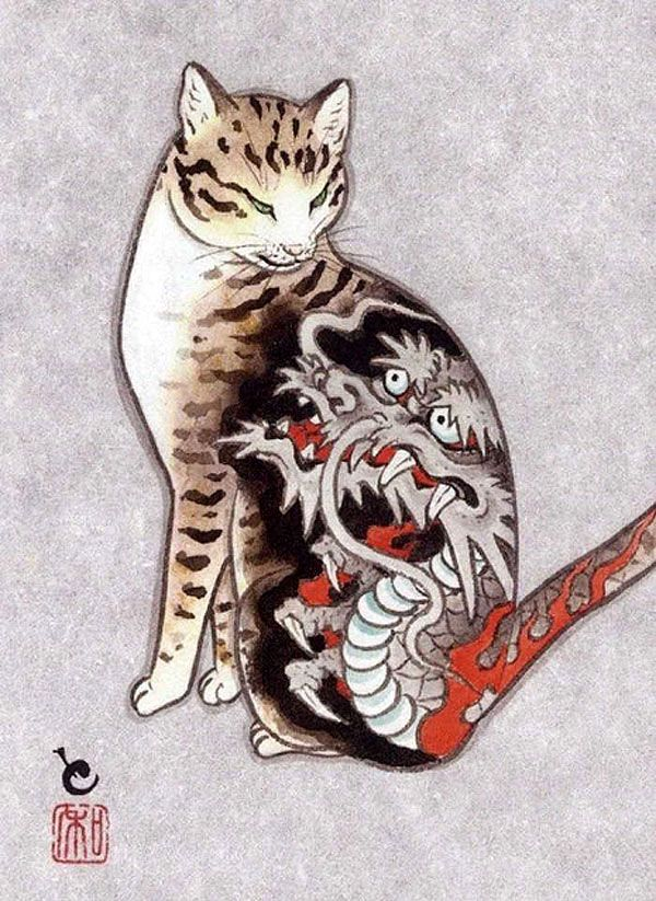 Cats With Tats Cat Tattoo Japanese Artists Cat Art