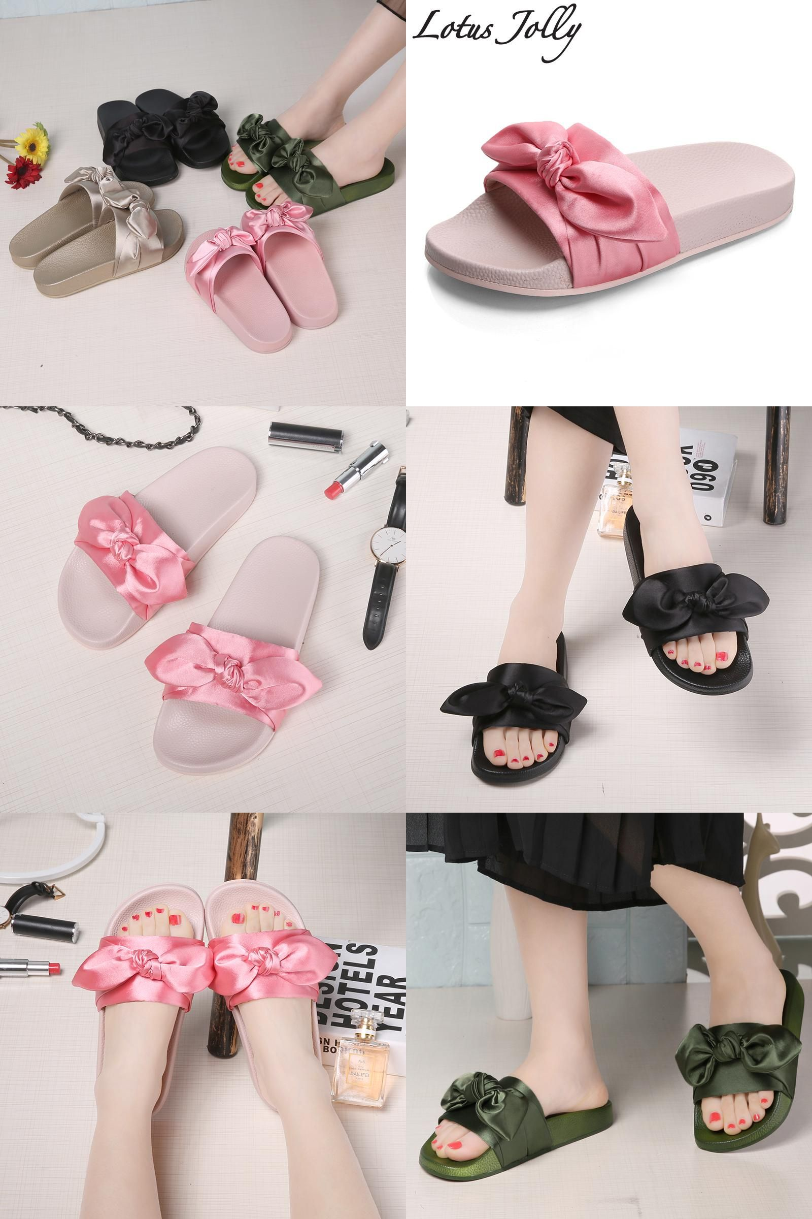 Visit to Buy  Lotus Jolly Silk Bow Slides Women Summer Beach Shoes Woman No 020ffc2d8