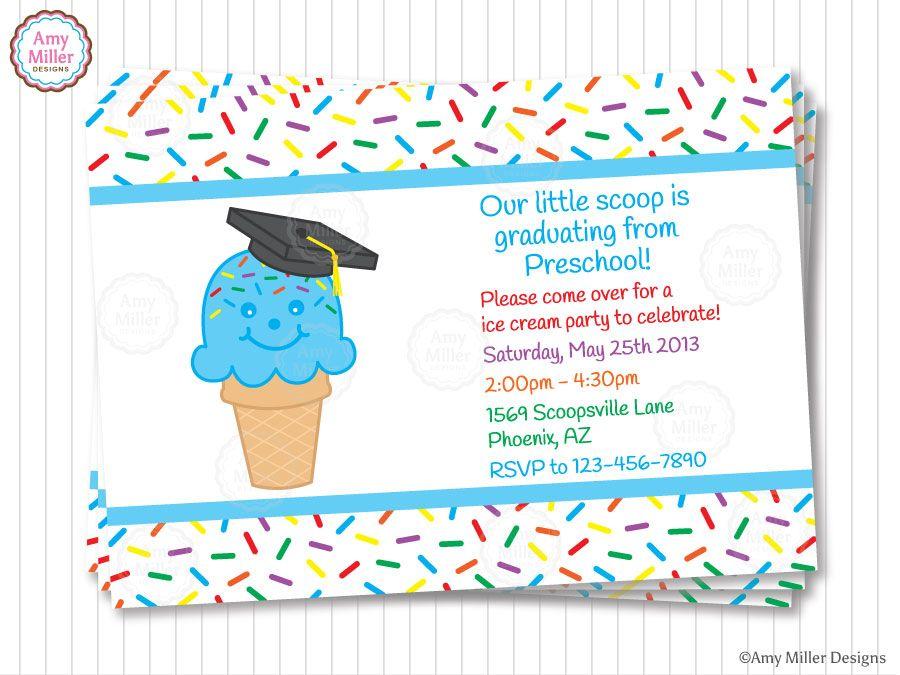 Free graduation invitations httpgyxykdbfree graduation ice cream cone kindergarten graduation invitation by amy miller designs filmwisefo Images