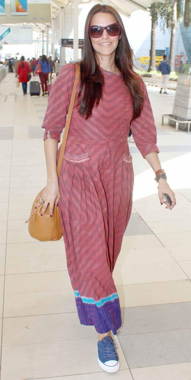 aeaed98f1e Neha Dhupia at Mumbai airport.  Bollywood  Fashion  Style  Beauty  Hot   Punjabi
