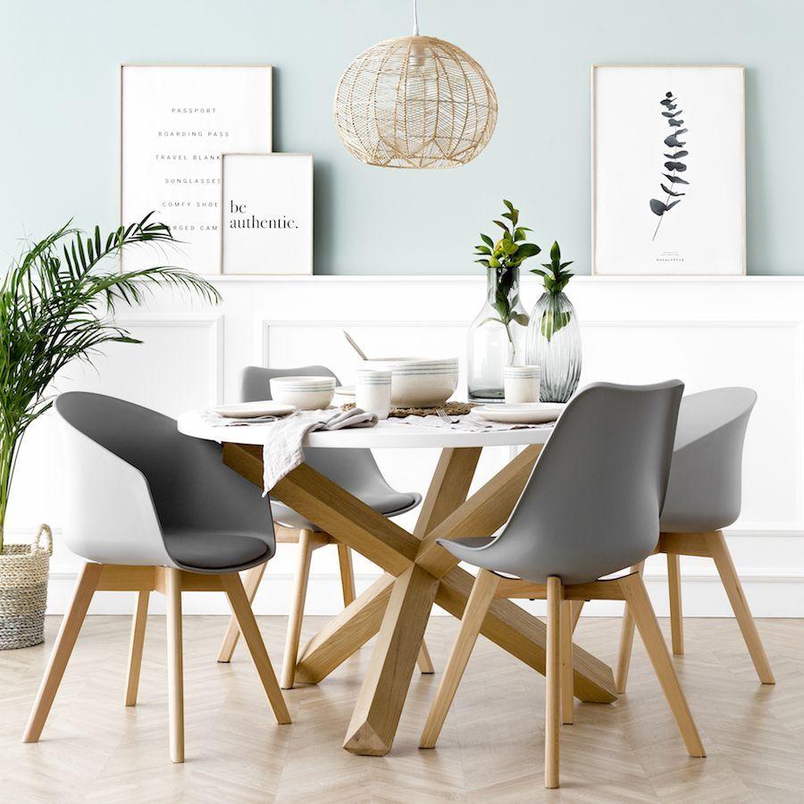 Cross Mesa Redonda Blanca Y Roble Diseño De Sala Comedor Mesas De Comedor Decoracion De Interiores Salones