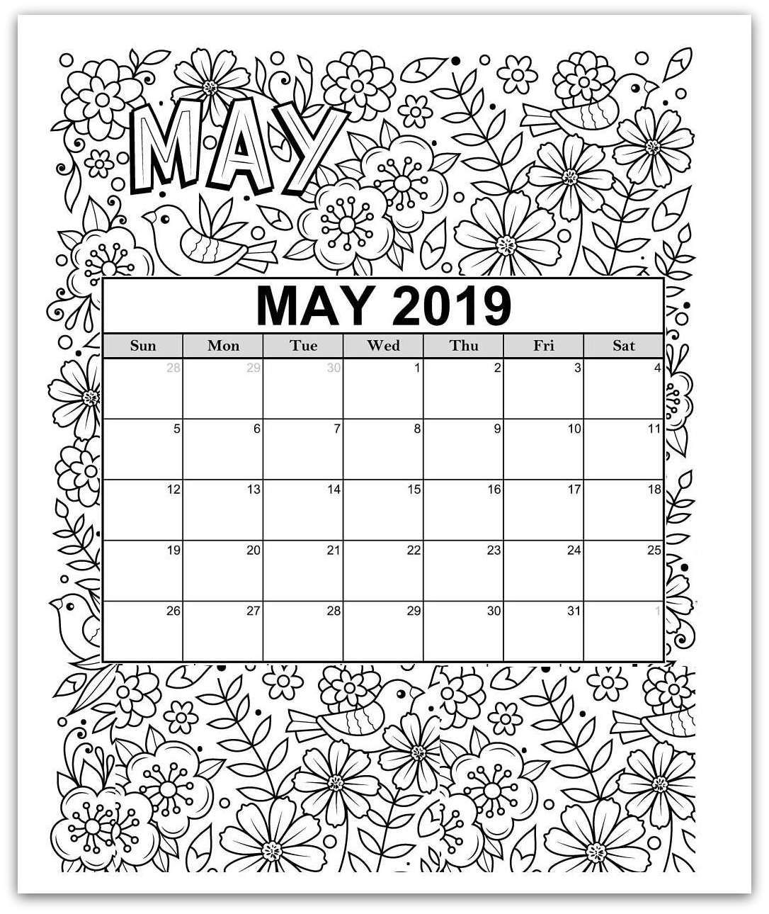 May Coloring Page Printable Calendar