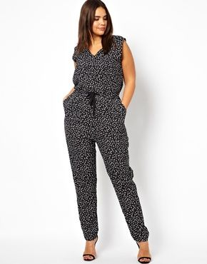 ALICE & YOU GEO PRINT JUMPSUIT V NECK plu size