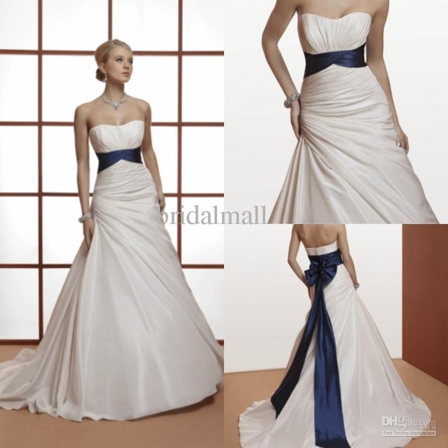 Royal blue sash simple ruched strapless a line taffeta royal royal blue sash simple ruched strapless a line taffeta royal church ivory wedding dresses af1268 ombrellifo Image collections