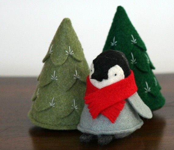 Felt trees and a felt penguin -- Adorable.