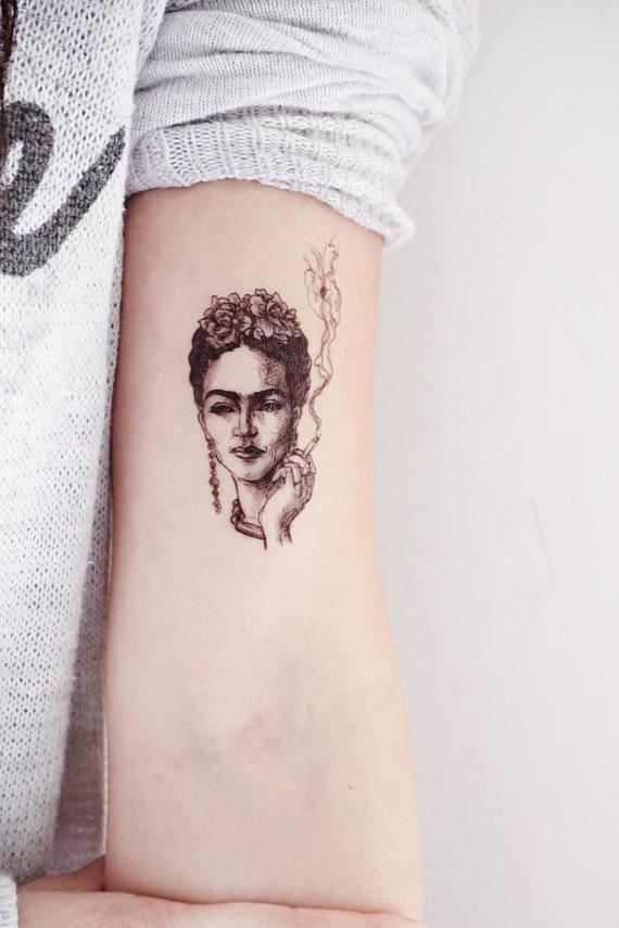 b40da0d5c LAZY DUO Frida Kahlo tattoos Portrait Tattoo Sticker realistic tattoos Fake  tattoo Flash bohemian Te