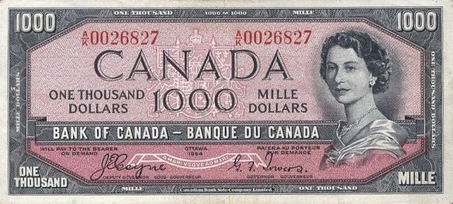 Value of 1954 Devils Face $1000 Bill from The Bank of Canada ...